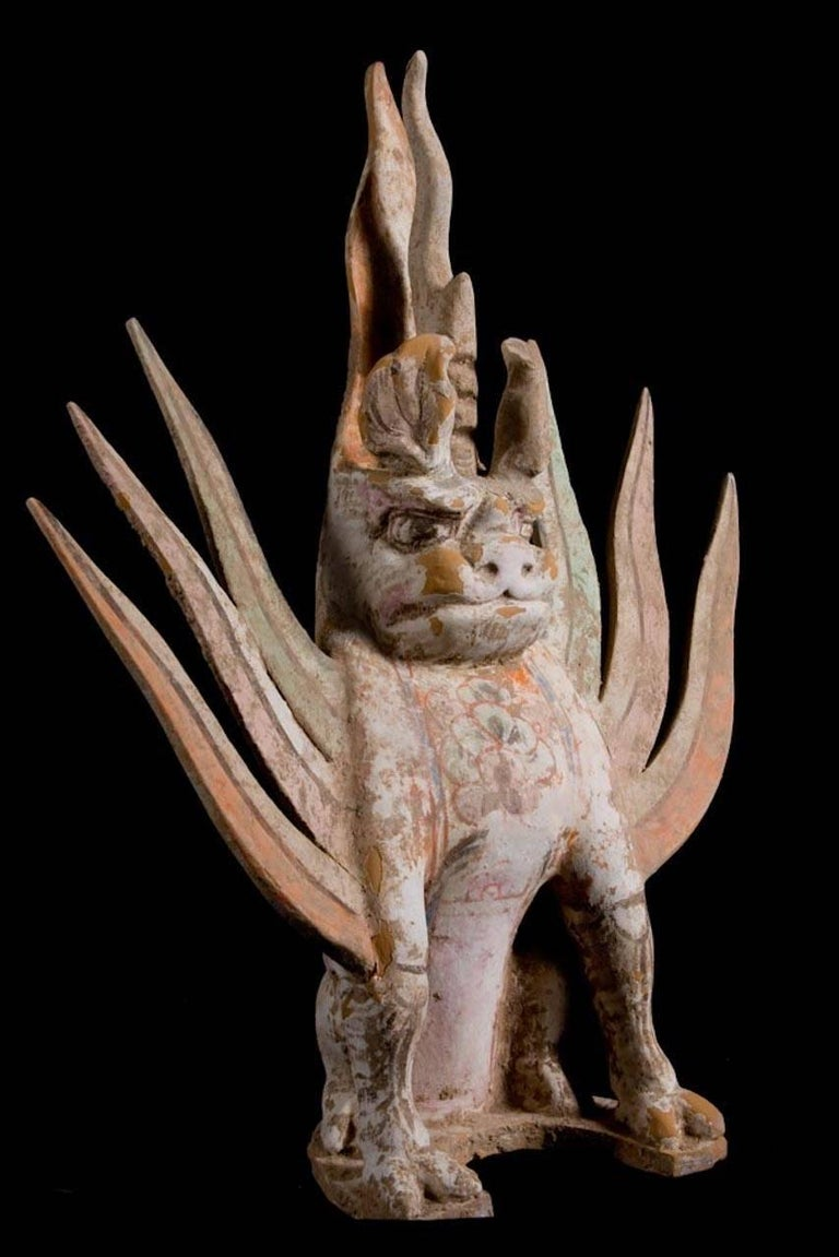 Chimera (Pixiu) Terracotta Mythological Being - Tang Dynasty, China '618-907 AD' In Excellent Condition For Sale In San Pedro Garza Garcia, Nuevo Leon