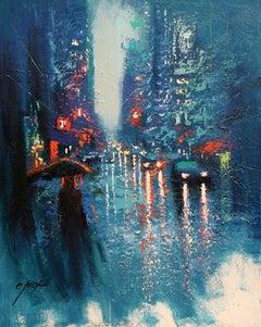 BLUE RAIN IN LEXINGTON AVENUE, Painting, Oil on Canvas