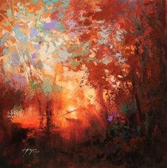 Glimpse of Autumn Sunset, Painting, Oil on Canvas