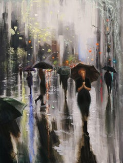 SPRING RAIN IN NEW YORK, Painting, Oil on Canvas