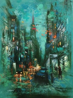 The Myth of New York and Flatiron Building, Painting, Oil on Canvas