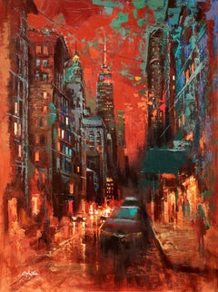 The Red Sky and the Myth of New York, Painting, Oil on Canvas