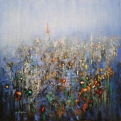 Urban Forest Blue, Painting, Oil on Canvas