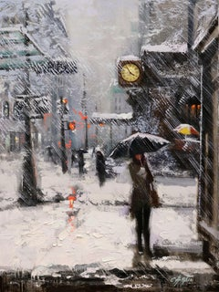 White Snow and Macy's Yellow Clock, Painting, Oil on Canvas
