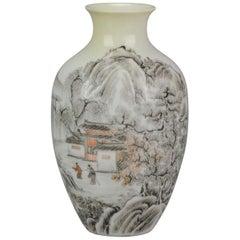 China 20th c Winter Landscape Miniature Vase Eggshell Chinese Porcelain PROC