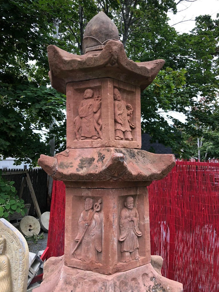 Chinese China, Antique Monumental Buddhist Stone Pagoda Tower, Tour De Force, 115