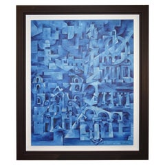 """China Blue Oil/ Canvas """"The City of Colums, Cuba"""" Spanish Schol Contemporary Art"""