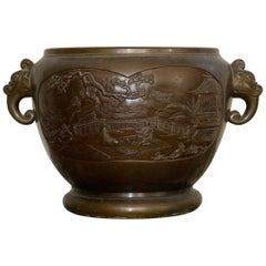 China Bronze Pot Cover with Palace Courtyard Scenes, circa 1900