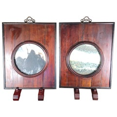 """China Century Old Dream Stone """"Landscape Paintings"""" with Original Frames, Pair"""