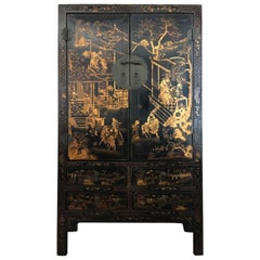 China 1930 Black Lacquered Elmood Cabinet  with Gold Paintings