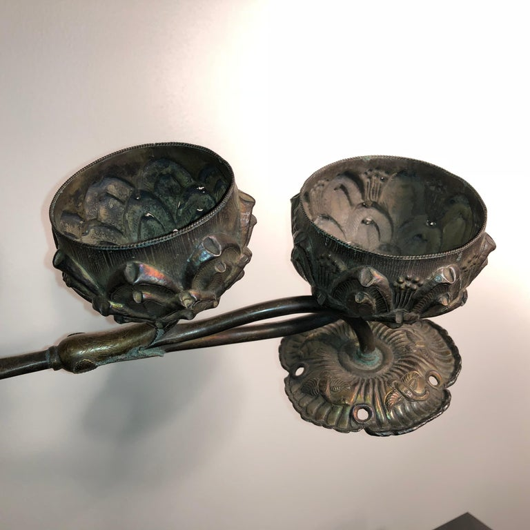China Fine Old Pair Gold Gilt Silver Fragrance Incense Holders, Ming Dynasty In Good Condition For Sale In Shelburne, VT