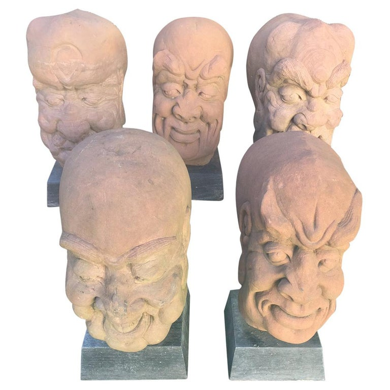 China Five Antique Monumental Hand Carved Stone Garden Monk Sculptures For Sale