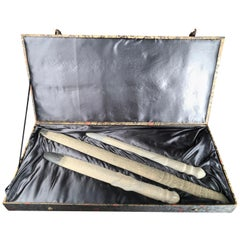 "China Hand Carved Three  ""Long Swords"" with Plush Presentation Case"