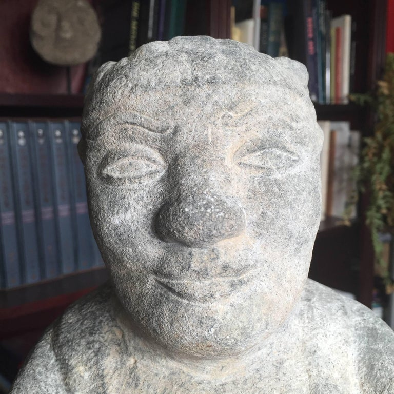 China Important Hand Carved Stone Effigy of Attendant, Qing Dynasty For Sale 5