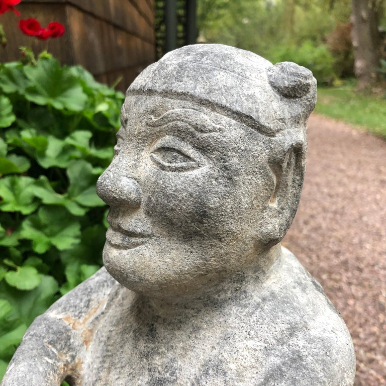 China Important Hand Carved Stone Effigy of Attendant, Qing Dynasty In Good Condition For Sale In Shelburne, VT