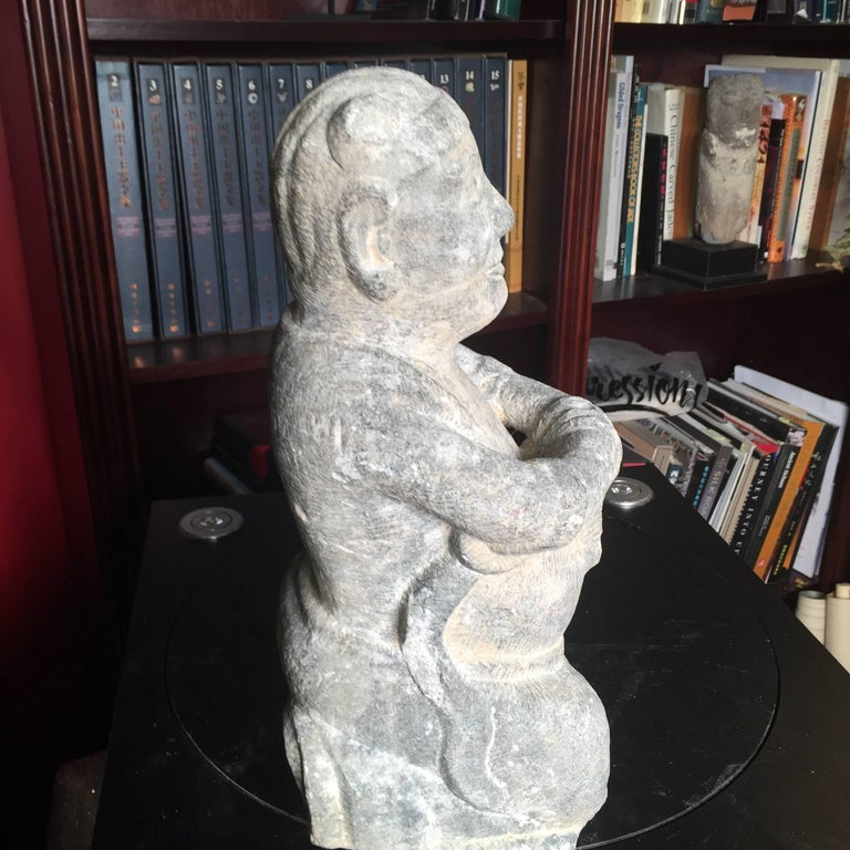 China Important Hand Carved Stone Effigy of Attendant, Qing Dynasty For Sale 1