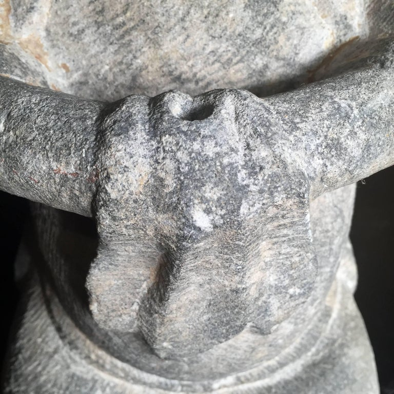 China Important Hand Carved Stone Effigy of Attendant, Qing Dynasty For Sale 2
