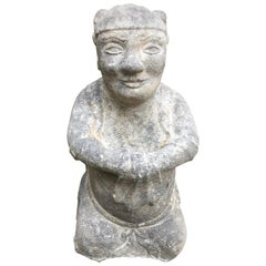 China Important Hand Carved Stone Effigy of Attendant, Qing Dynasty