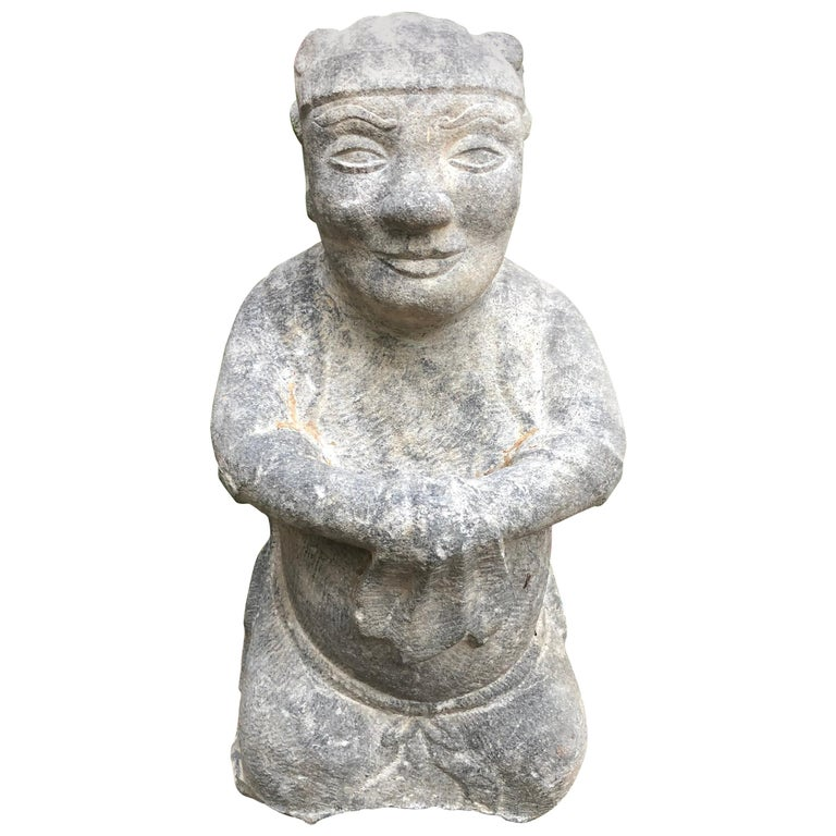 China Important Hand Carved Stone Effigy of Attendant, Qing Dynasty For Sale