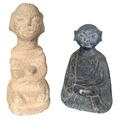 """China Pair of Small Hand Carved Stone """"Human Effigy"""" Figure Sculptures"""
