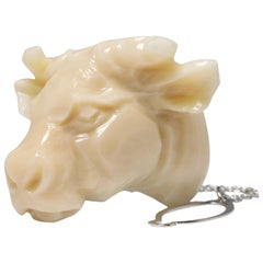 China Sea Off-White Coral Bull/Cow Head Pin Brooch