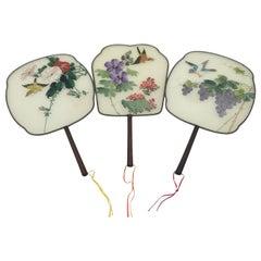 China Set of Three Silk Hand Painted Rigid Fans 'Pay-Pay', circa 1900