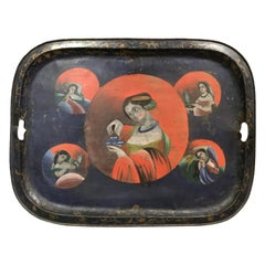 China Trade Hand Painted Tray with Female Figures circa 1820