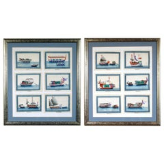 China Trade Miniature Watercolor Pictures of Junks and Sampans on Pith Paper