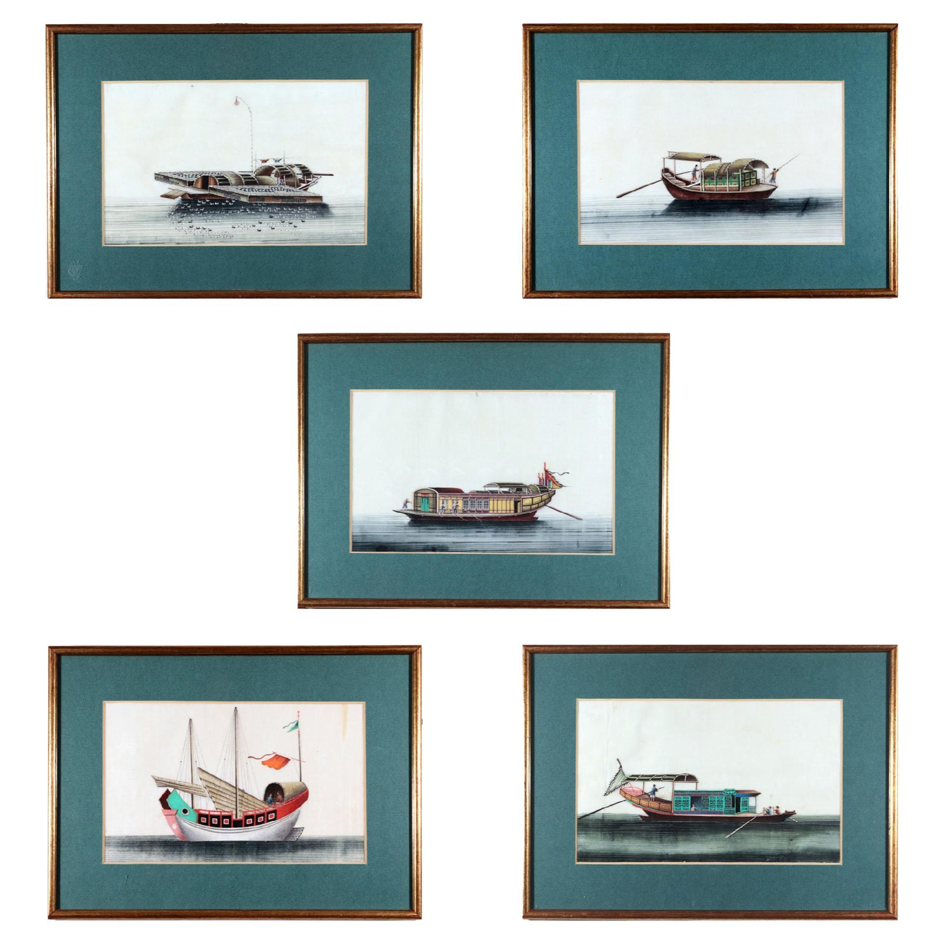 China Trade Watercolor Pictures of Junks & Sampans, Set of Five