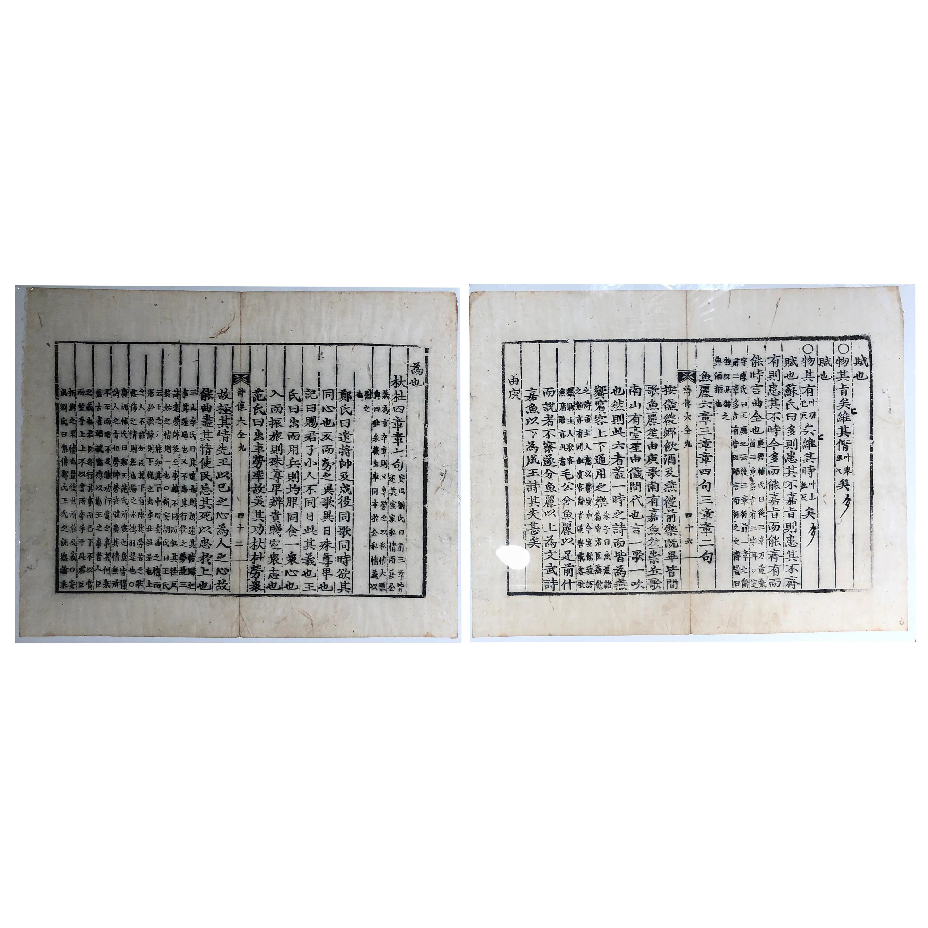 China Two Antique Woodblock FENG SHUI Prints, Immediately Frameable