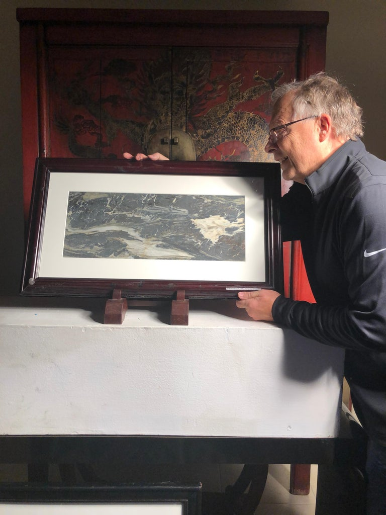 Extraordinary natural work, one of a kind. Custom framed  This Chinese extraordinary natural stone painting of churning sea waves among rocks could remind us of a unique shoreline or boating event in our lives. The powerful and colorful depiction