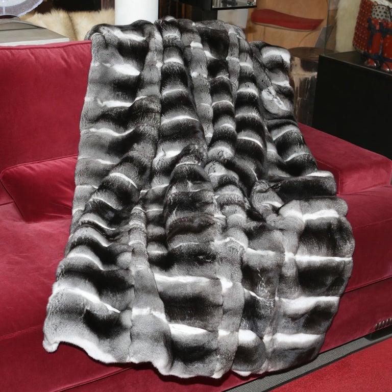 Fur Chinchilla Blanket in Pure Chinchilla For Sale
