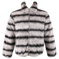 Chinchilla Fur Black & White Fur Zip Front Coat Jacket
