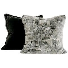 Chinchilla Style Rex Rabbit Fur Pillow