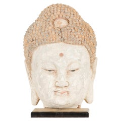 Chinese 18th Century or Earlier Terracotta Buddha Head Sculpture on Custom Stand