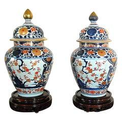 Chinese 18th Century Pair of Imari Temple Jars