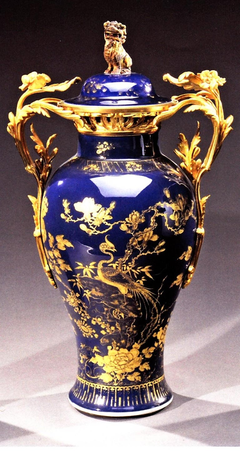 Chinese 18th Century Powder Blue Gilt-Decorated Set of Three Vases For Sale 5