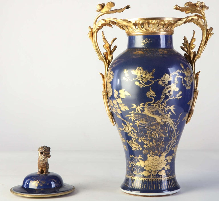 Chinese 18th Century Powder Blue Gilt-Decorated Set of Three Vases For Sale 1