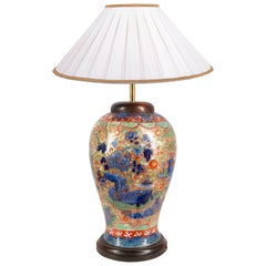 Chinese Blue and White Clobbered Vase / Lamp, 19th Century