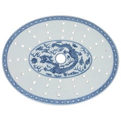 Chinese 19th Century Blue and White Oval Strainer Dish