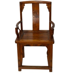 Chinese 19th Century Armchair with Open Arms and Hand-Carved Floral Motifs