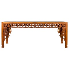 Chinese 19th Century Console Table with Cloud-Carved Apron and Scrolling Feet