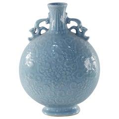 Chinese 19th Century Cornflower Blue Porcelain Moonflask Vase