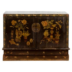 Chinese 19th Century Dark Brown Lacquered Sideboard with Hand Painted Motifs