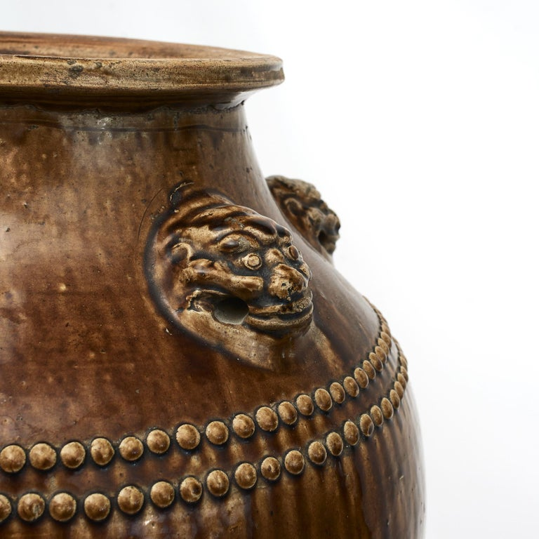 Qing Chinese 19Th Century Earthenware Martaban Storage Jar For Sale