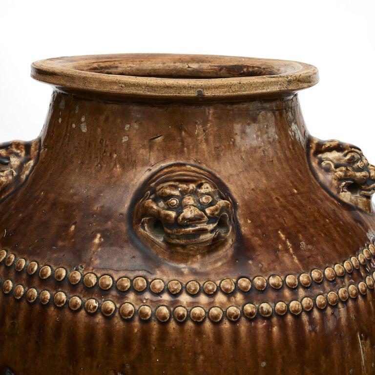 Glazed Chinese 19Th Century Earthenware Martaban Storage Jar For Sale