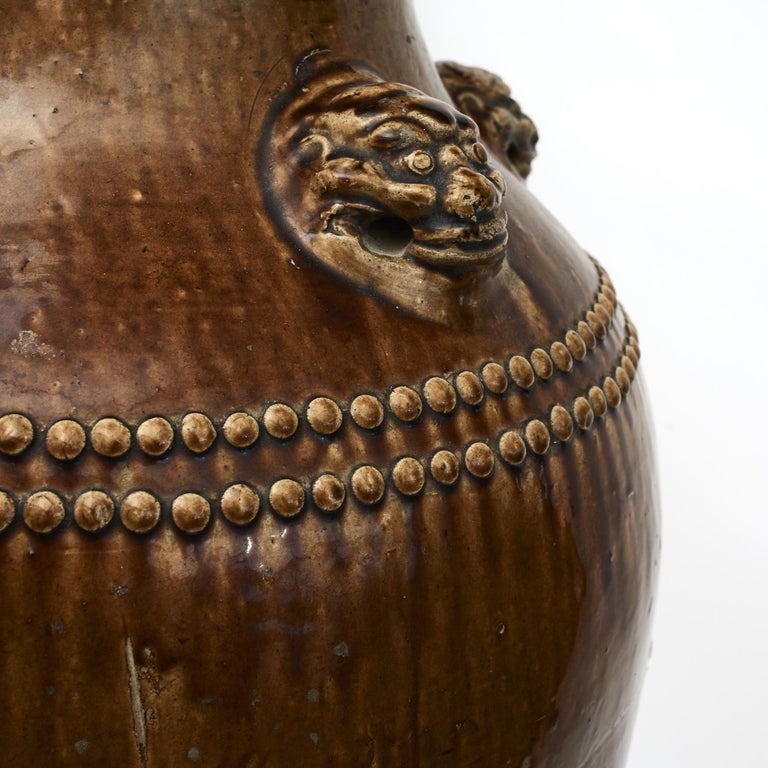 19th Century Chinese 19Th Century Earthenware Martaban Storage Jar For Sale