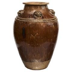Chinese 19Th Century Earthenware Martaban Storage Jar