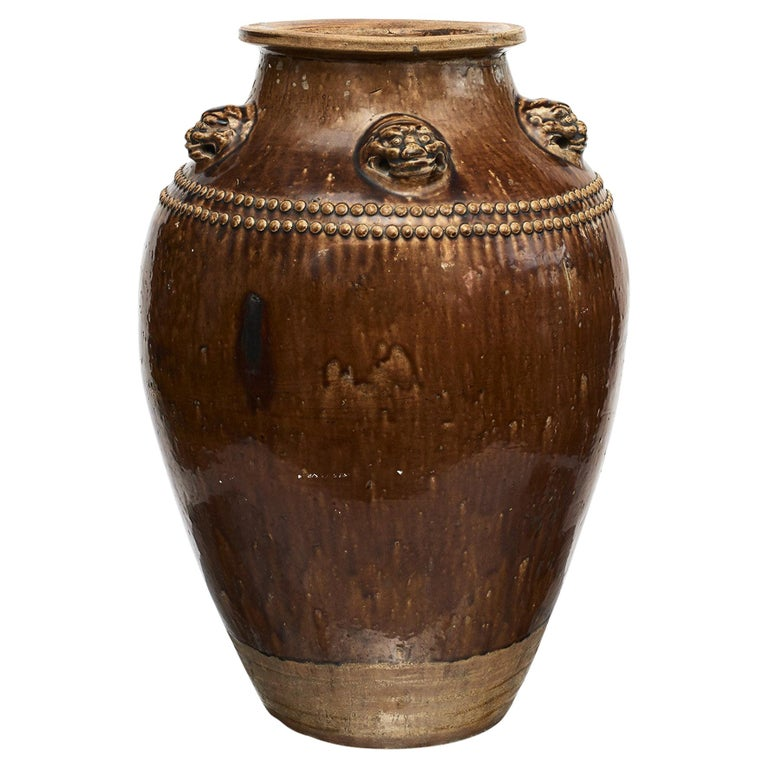 Chinese 19Th Century Earthenware Martaban Storage Jar For Sale