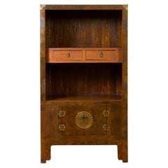 Chinese 19th Century Elmwood Bookcase with Doors, Drawers and Brass Hardware